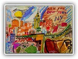 spanish_painters._spain_artists.merello.colors_of_new_york_54x73_cm_mix_media_on_table